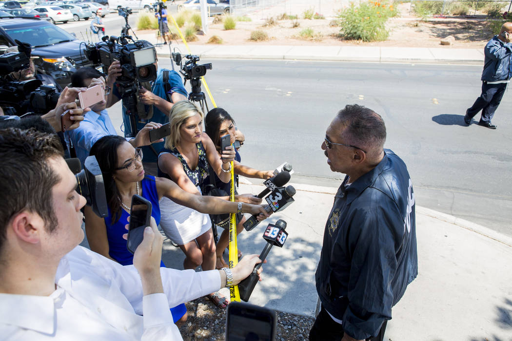 UNLV Police Chief José A. Elique gives a press briefing after a woman and her 11-year-old daughter were shot at inside their white Ford pickup truck on the campus of UNLV on Thursday, July 13 ...
