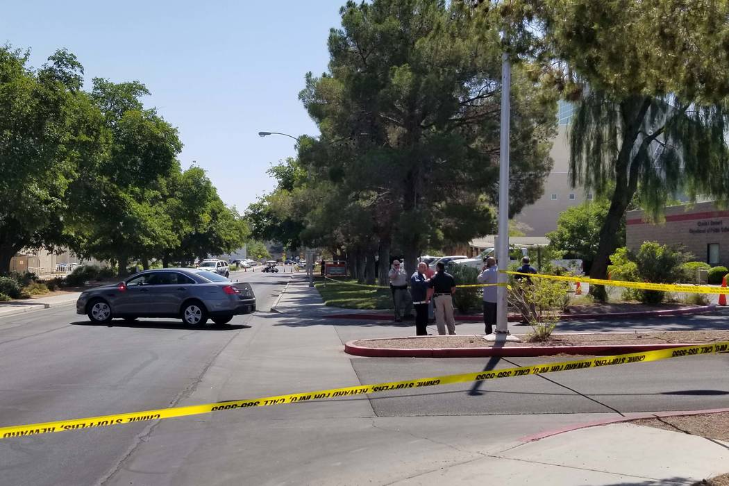 The UNLV campus is on lockdown as campus police investigate reports of gunshots, Thursday, July 13, 2017. (Patrick Connolly/Las Vegas Review-Journal)