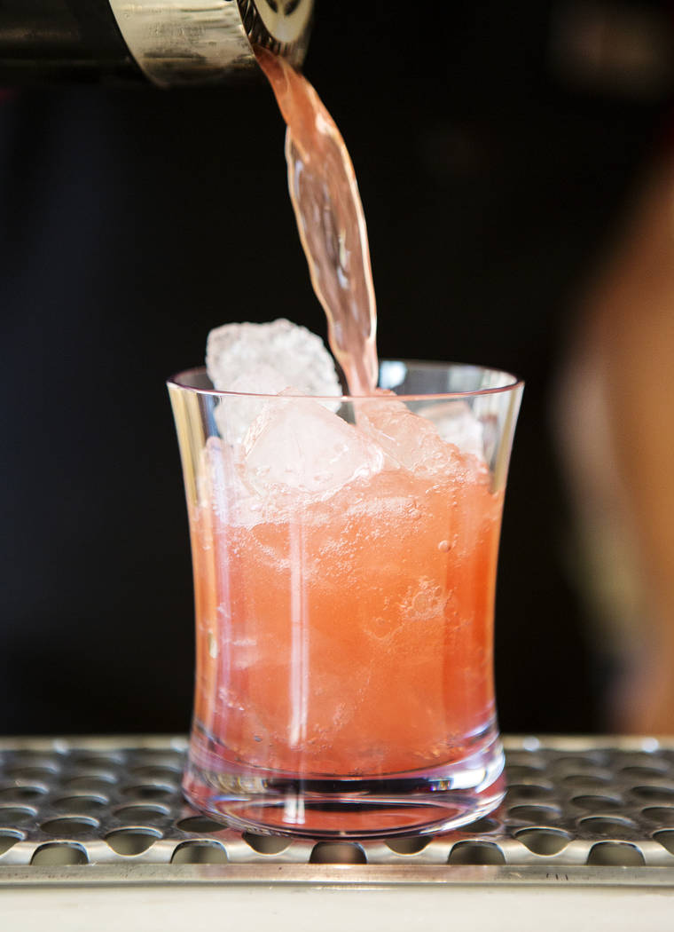 The Lucky Dragon's Tea-ki Tiki drink is pictured on Friday, July 14, 2017, in Las Vegas. The drink includes Belvedere mango passion vodka, raspberry syrup, green tea, and lemon juice. Bridget Benn ...