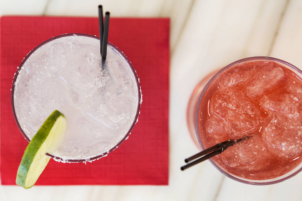 The Lucky Dragon's Tea-ki Tiki drink, right, and Green Tea Margarita, left, are pictured on Friday, July 14, 2017, in Las Vegas. These drinks are a part of The Lucky Dragon's tea-inspired cocktail ...