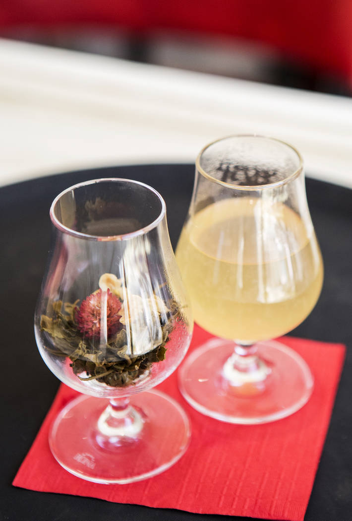 Lucky Dragon's Secret Garden is pictured on Friday, July 14, 2017, in Las Vegas. The drink, made of fresh lemon juice, honey ginger syrup, Botanist gin and passion strawberry tea, is a part of  Lu ...