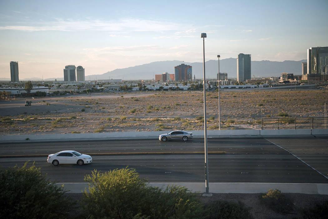 The Raiders football stadium lot, as seen facing the Las Vegas Strip from the Staybridge Suites window on Thursday, June 22, 2017, in Las Vegas. (Morgan Lieberman Las Vegas Review-Journal)