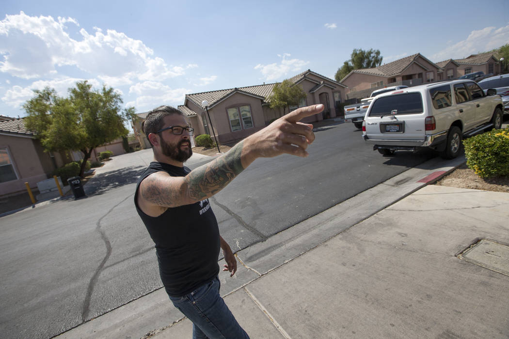 Seth Wolther, 35, gestures as he speaks to the Review-Journal at the Squire Village in Las Vegas, Thursday, July 13, 2017, about his pursuit and how he apprehended a kid who attempted to rob a nei ...
