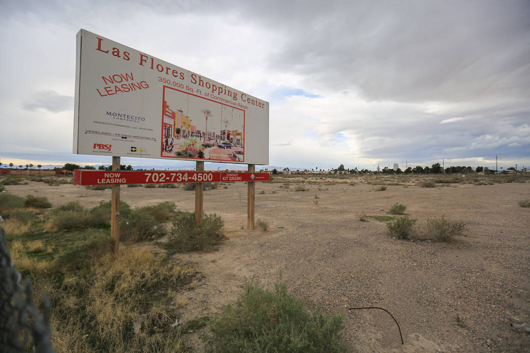 An empty lot on the northwest corner of Las Vegas Boulevard North and Hamilton Street, near North Las Vegas City Hall, marks the spot where investors want to build a movie theater on Friday, Feb.  ...