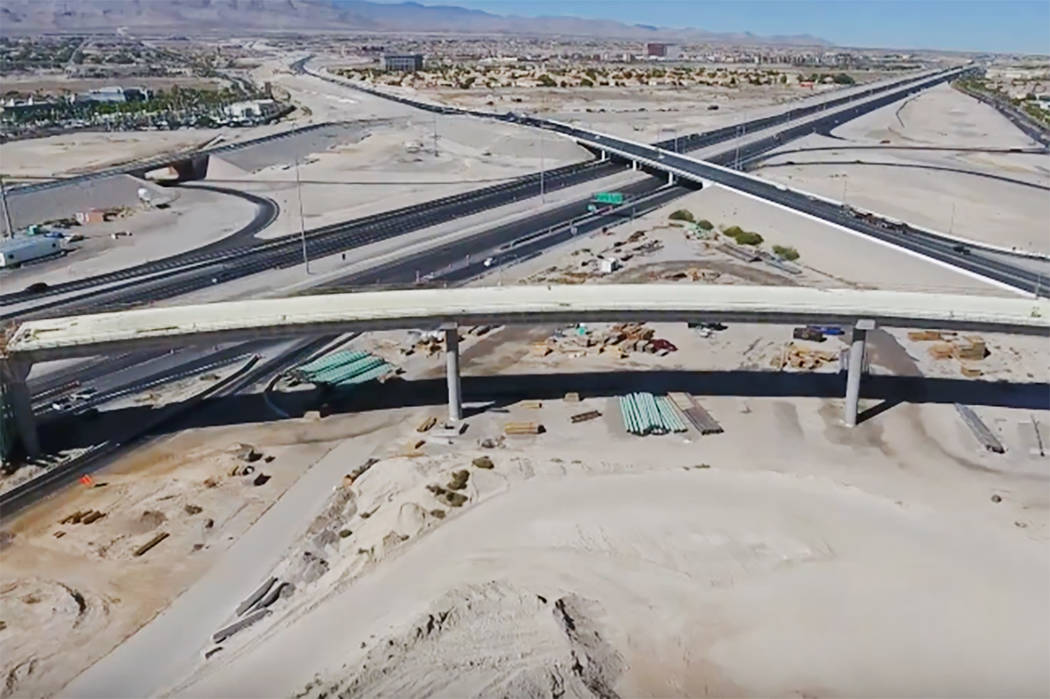 Construction of the Centennial Bowl interchange in northwest Las Vegas. (Nevada Department of Transportation/YouTube)