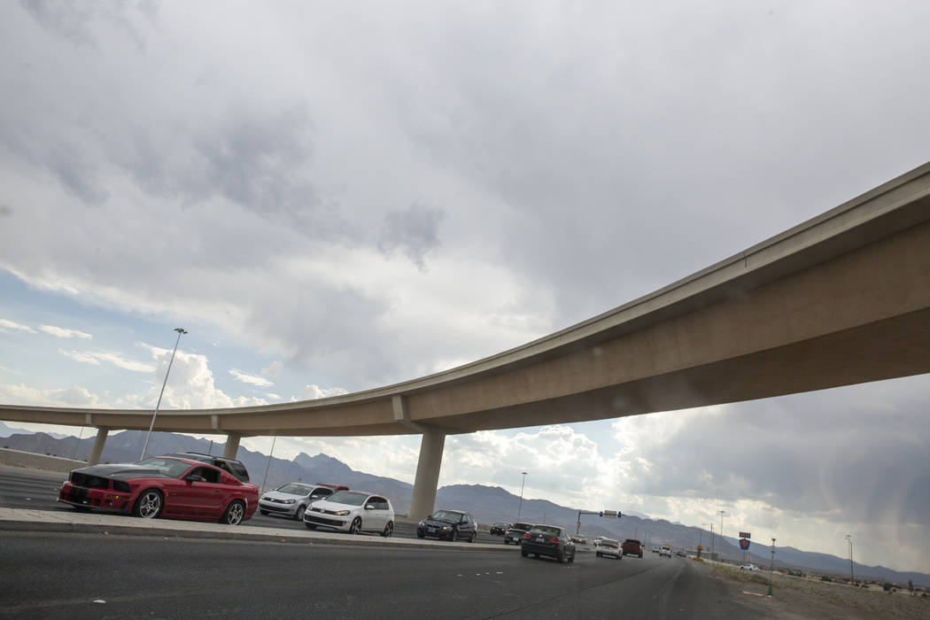 A new, 60-foot-tall ramp at the Centennial Bowl interchange at U.S. Highway 95 and the 215 Beltway in northwest Las Vegas is opening Wednesday, July 12, 2017.  (Patrick Connolly/Las Vegas Review-J ...