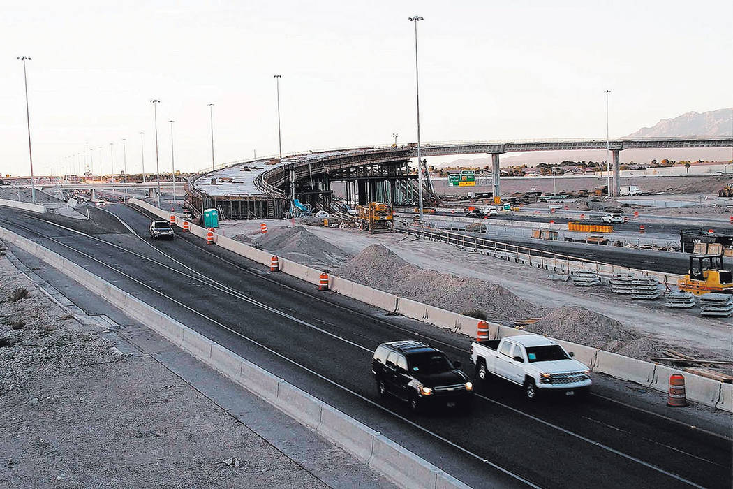 Vehicles travel south on U.S. Highway 95 through construction at the Centennial Bowl, an interchange under construction at the northern 215 Beltway in Las Vegas on Monday, March 13, 2017. Greg Haa ...