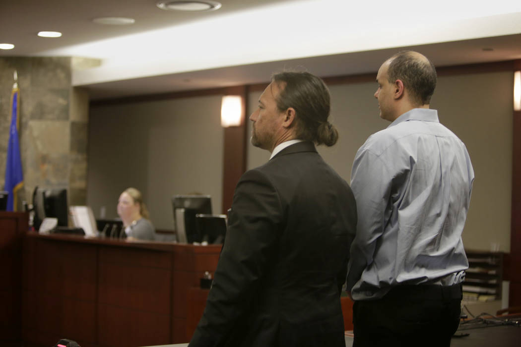 Defense Attorney Michael Sanft, left, and defendant Teag Fox, at the Regional Justice Center in  Las Vegas, Thursday, July 13, 2017.  Fox was convicted Thursday of attempted murder for shooting a  ...