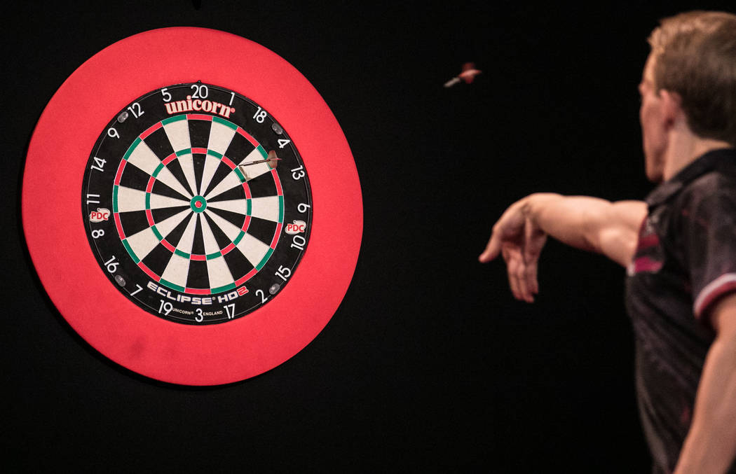 Dawson Murschell in the final leg of the match at the PDC's World Series of Darts Festival at Tropicana hotel-casino on Friday, July 14, 2017, in Las Vegas. Morgan Lieberman Las Vegas Review-Journal