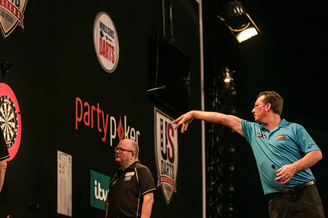 Shawn Brenneman competes in the second leg at the PDC's World Series of Darts Festival at Tropicana hotel-casino on Friday, July 14, 2017, in Las Vegas. Morgan Lieberman Las Vegas Review-Journal