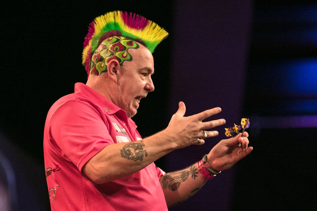 Peter Wright with a nervous reaction to his previous series of throws at the PDC's World Series of Darts Festival at Tropicana hotel-casino on Friday, July 14, 2017, in Las Vegas. Morgan Lieberman ...