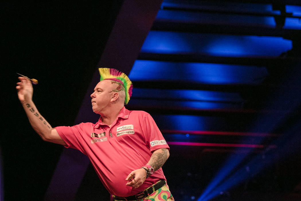Peter Wright in the third leg of the match at the PDC's World Series of Darts Festival at Tropicana hotel-casino on Friday, July 14, 2017, in Las Vegas. Morgan Lieberman Las Vegas Review-Journal