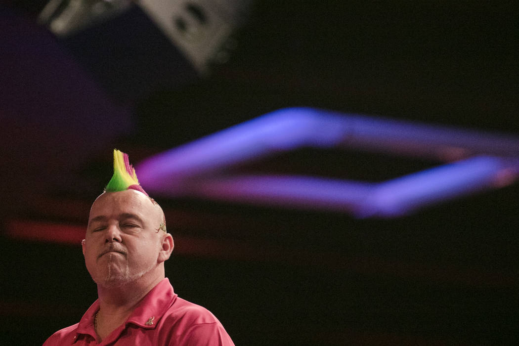 Peter Wright takes a moment to reflect at the PDC's World Series of Darts Festival at Tropicana hotel-casino on Friday, July 14, 2017, in Las Vegas. Morgan Lieberman Las Vegas Review-Journal