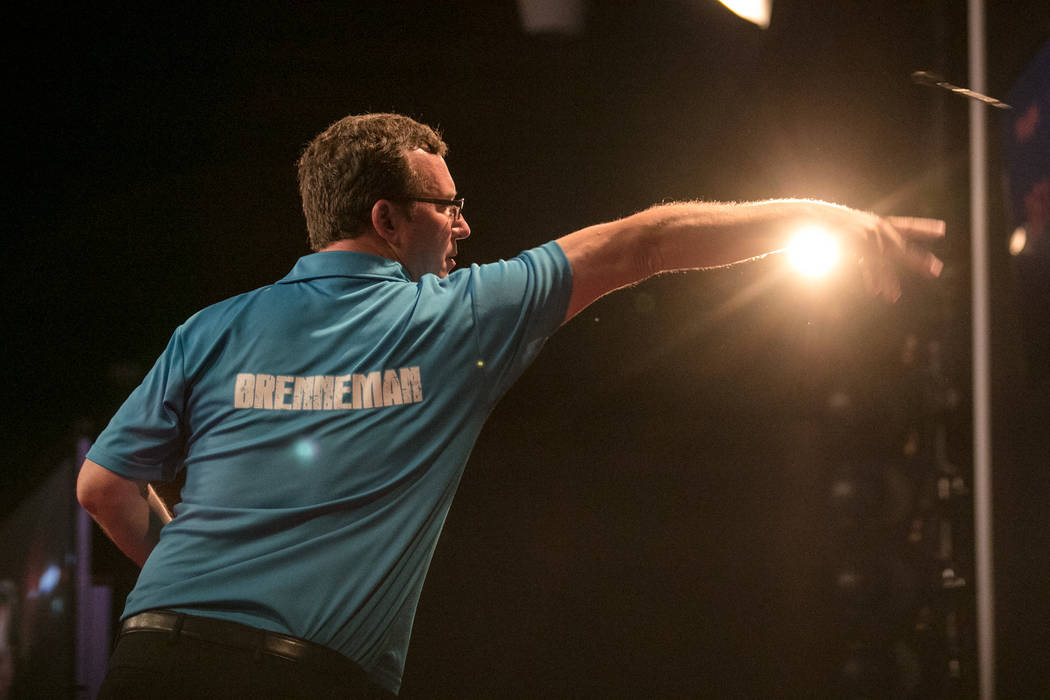 Shawn Brenneman with a throw at the PDC's World Series of Darts Festival at Tropicana hotel-casino on Friday, July 14, 2017, in Las Vegas. Morgan Lieberman Las Vegas Review-Journal