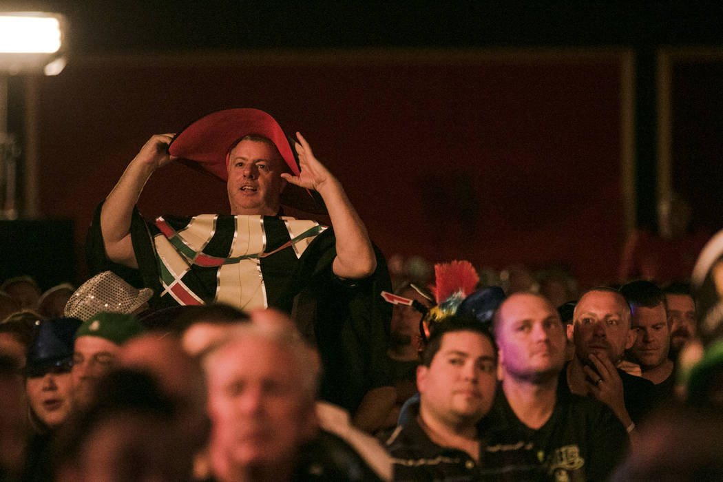 Spectators show their support at the PDC's World Series of Darts Festival at Tropicana hotel-casino on Friday, July 14, 2017, in Las Vegas. Morgan Lieberman Las Vegas Review-Journal