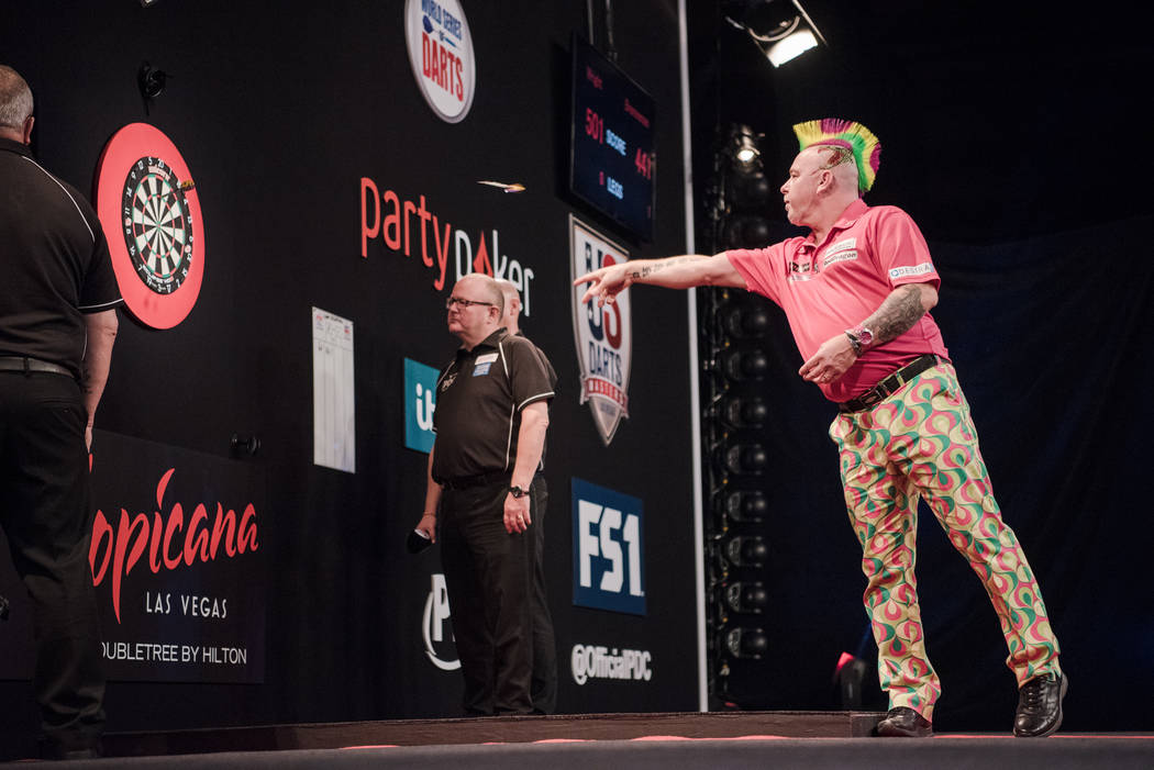 Peter Wright in the last leg of the match at the PDC's World Series of Darts Festival at Tropicana hotel-casino on Friday, July 14, 2017, in Las Vegas. Morgan Lieberman Las Vegas Review-Journal