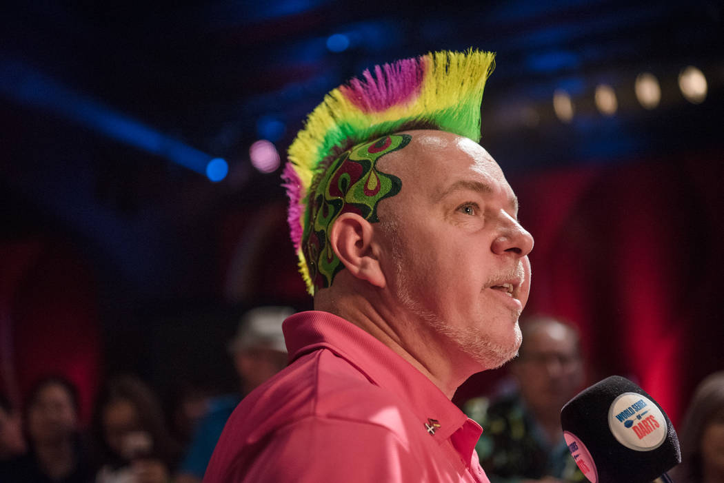 Peter Wright post-match in an interview at the PDC's World Series of Darts Festival at Tropicana hotel-casino on Friday, July 14, 2017, in Las Vegas. Morgan Lieberman Las Vegas Review-Journal