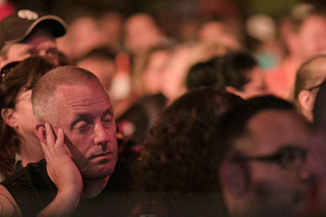 A spectator takes a snooze during the PDC's World Series of Darts Festival at Tropicana hotel-casino on Friday, July 14, 2017, in Las Vegas. Morgan Lieberman Las Vegas Review-Journal