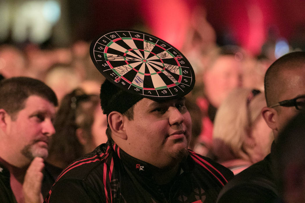 A spectatord dresses for the occasion at the PDC's World Series of Darts Festival at Tropicana hotel-casino on Friday, July 14, 2017, in Las Vegas. Morgan Lieberman Las Vegas Review-Journal