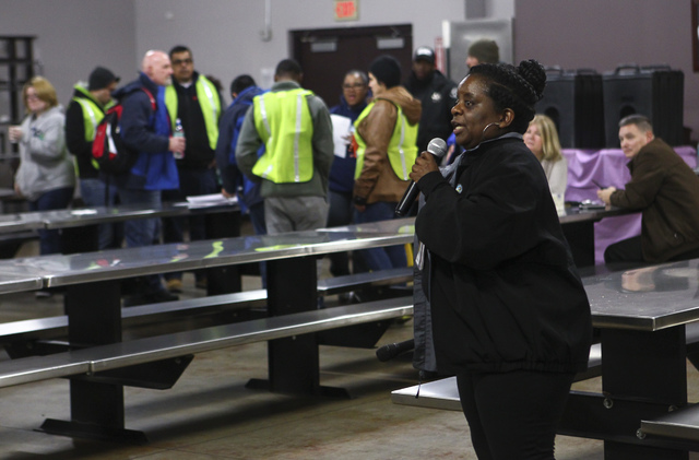 Kathi Thomas-Gibson speaks before the start of the Southern Nevada Homeless Census at Catholic Charities in downtown Las Vegas on Tuesday, Jan. 24, 2017. (Chase Stevens/Las Vegas Review-Journal) @ ...