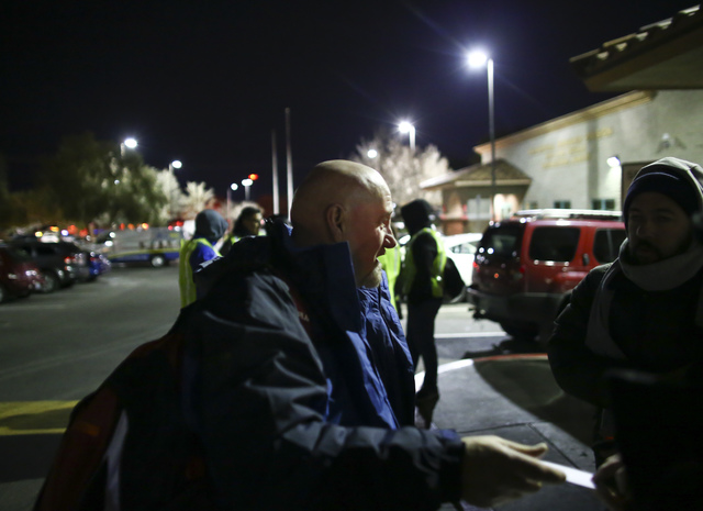Phillip Hollon, director of social services for The Salvation Army, talks before the start of the Southern Nevada Homeless Census at Catholic Charities in downtown Las Vegas on Tuesday, Jan. 24, 2 ...