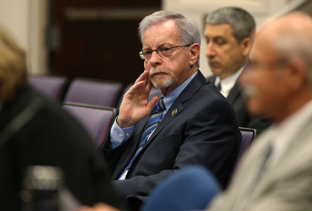 Nevada Assemblyman Glenn Trowbridge, R-Las Vegas, listens to testimony in opposition to his proposal to make changes to the PERS system during a hearing at the Legislative Building in Carson City, ...