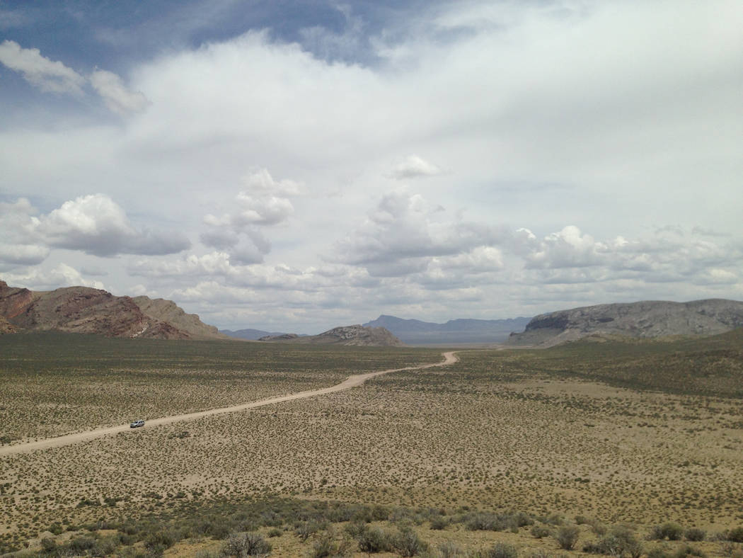Clouds build over what is now Basin and Range National Monument, about 150 miles north of Las Vegas, on May 20, 2015. A group congressional Republicans want the monument chopped down to about 2,50 ...