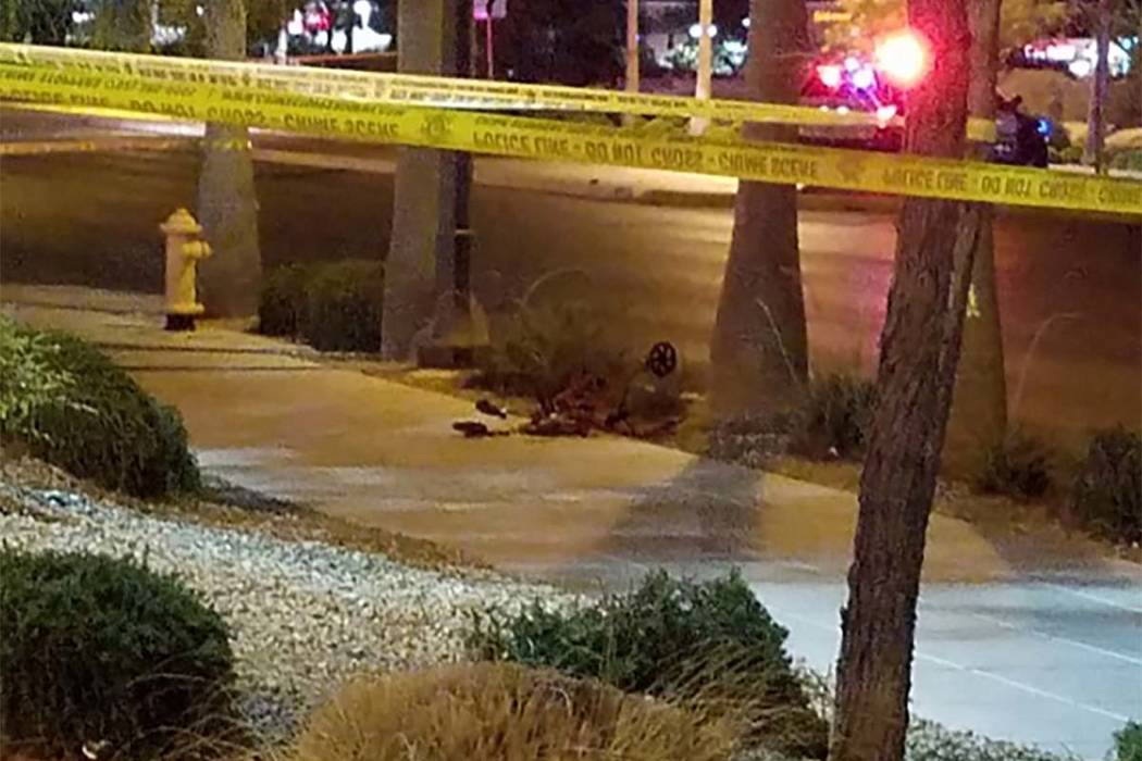 A woman in her 80s died Friday morning after being struck by a car while outside a crosswalk in the northwest valley. (Mike Shoro/Las Vegas Review-Journal)
