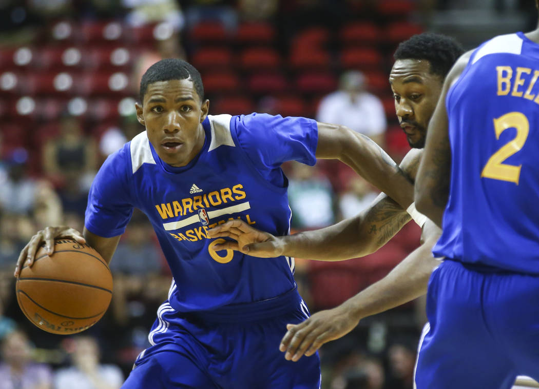 Golden State Warriors' Patrick McCaw (0) drives against the Minnesota Timberwolves during a basketball game at the NBA Summer League at the Thomas & Mack Center in Las Vegas on Tuesday, July 1 ...