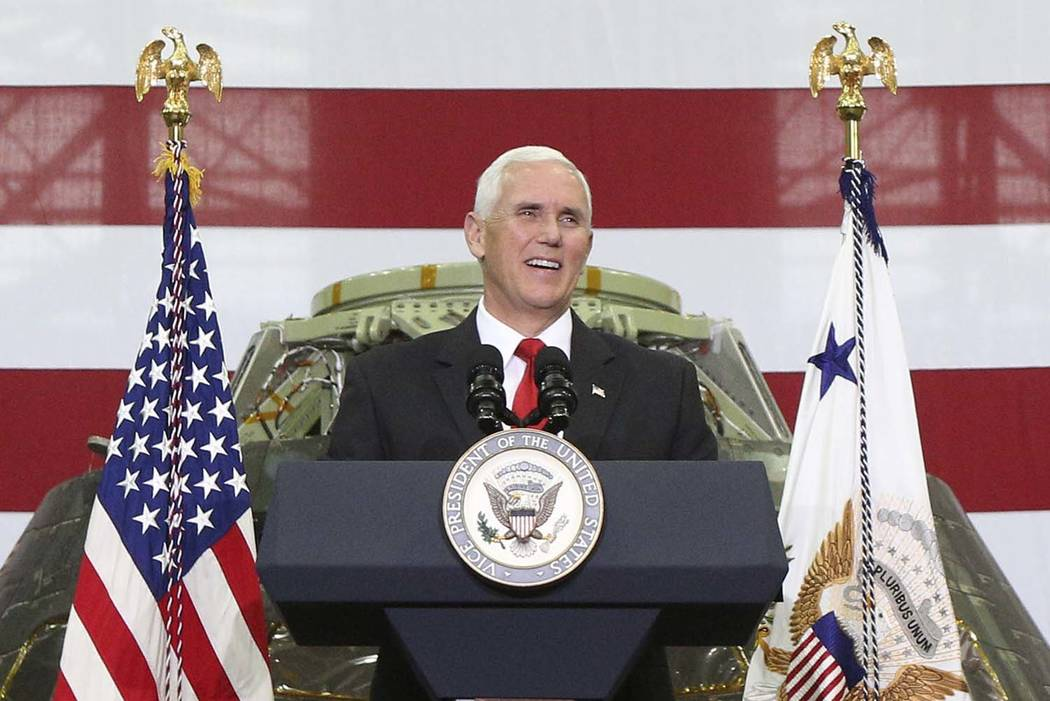 Vice President Mike Pence speaks inside the Vehicle Assembly Building at the Kennedy Space Center in Cape Canaveral, Fla., on Thursday, July 6, 2017. Pence is leading a newly revived National Spac ...