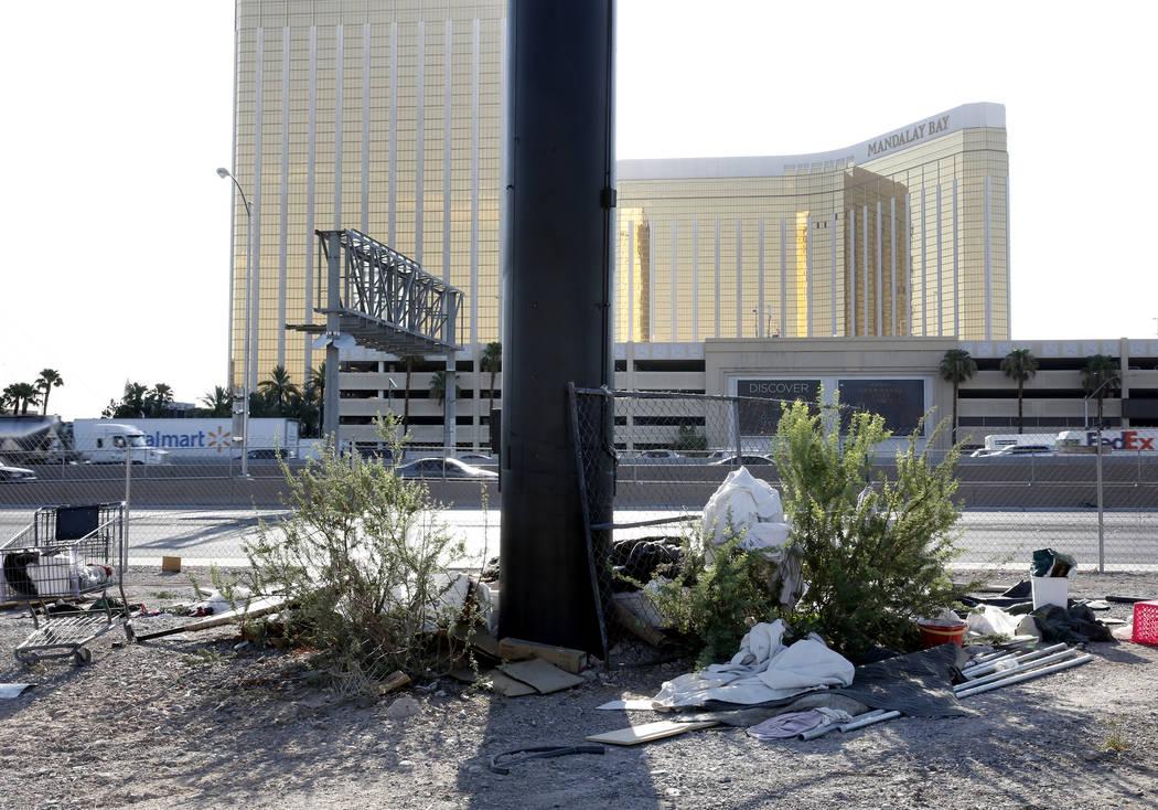 A homeless encampment at the Raiders stadium project site on Dean Martin Drive on Monday, July 17, 2017, in Las Vegas. (Bizuayehu Tesfaye/Las Vegas Review-Journal) @bizutesfaye
