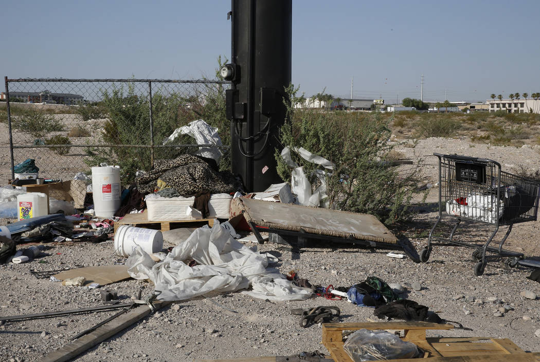 A homeless encampment at the Raiders stadium project site on Dean Martin Drive on Monday, July 17, 2017, in Las Vegas. (Bizuayehu Tesfaye/Las Vegas Review-Journal) @bizutesfaye