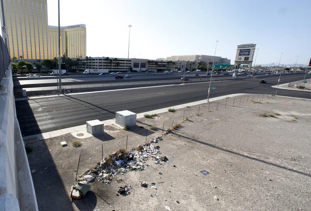 A homeless encampment near the Raiders stadium project site as seen from an overpass on Hacienda Avenue on Monday, July 17, 2017, in Las Vegas. (Bizuayehu Tesfaye/Las Vegas Review-Journal) @bizute ...
