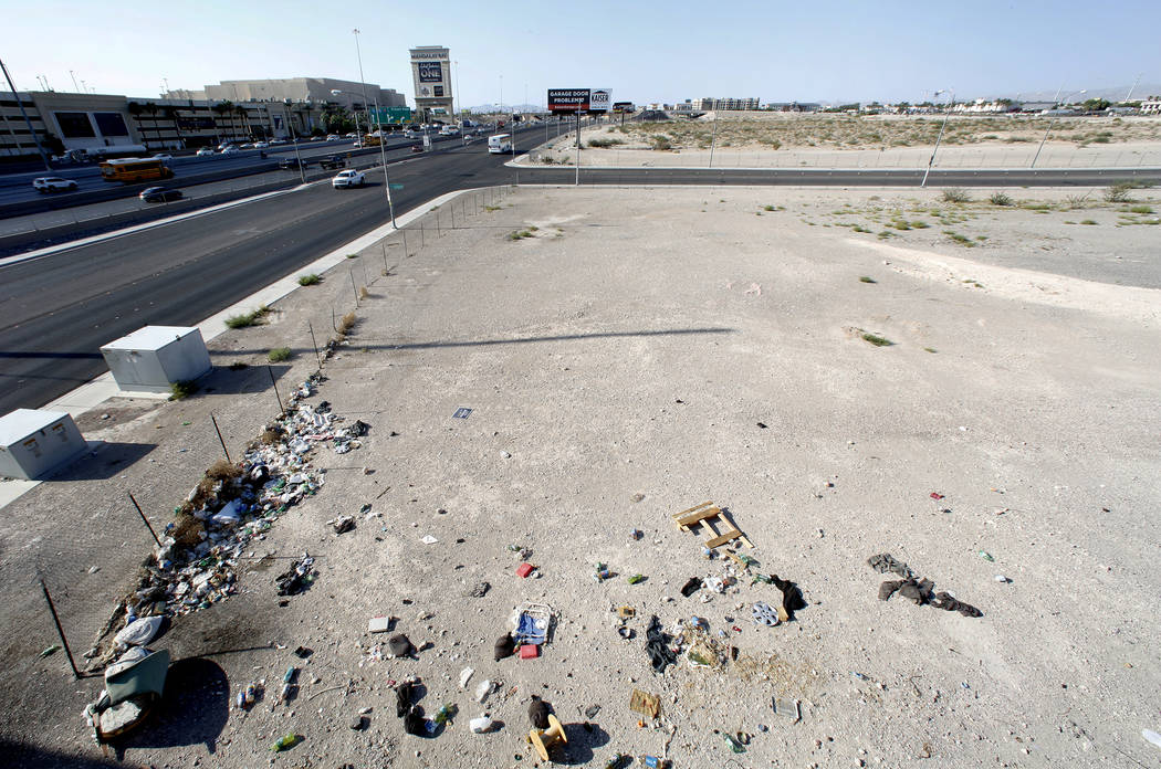 A homeless encampment near the Raiders stadium project site as seen from an overpass on Hacienda Avenue on Monday, July 17, 2017, in Las Vegas. (Bizuayehu Tesfaye/Las Vegas Review-Journal) @bizute ...