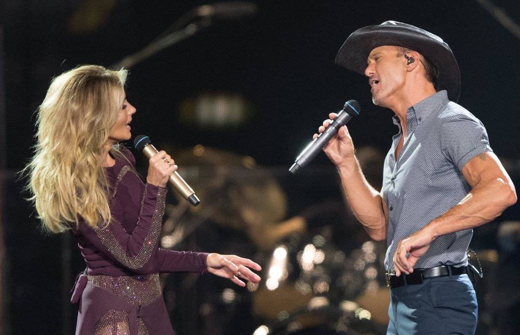 Faith Hill and Tim McGraw performed at the T-Mobile Arena last night (July 13). (Tom Donoghue) )