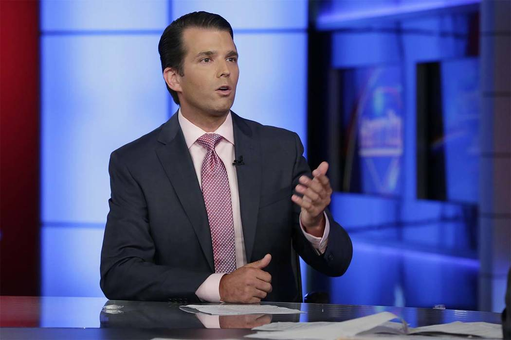 Donald Trump Jr. is interviewed by host Sean Hannity on his Fox News Channel television program, in New York Tuesday, July 11, 2017. Donald Trump Jr. has long been his father's id, the brawler who ...