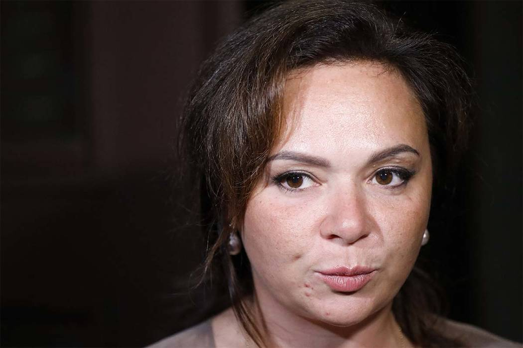 Russian lawyer Natalia Veselnitskaya speaks to journalists in Moscow on July 11. A billionaire real estate mogul, his pop singer son, a music promoter, a property lawyer and Russia's prosecutor ge ...