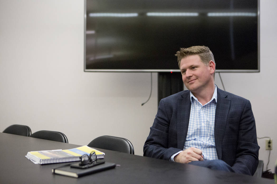 Las Vegas Soccer LLC founder Brett Lashbrook speaks with a reporter at the Las Vegas Review-Journal on Monday, July 17, 2017. Lashbrook is strongly pushing for Las Vegas United Soccer League team. ...