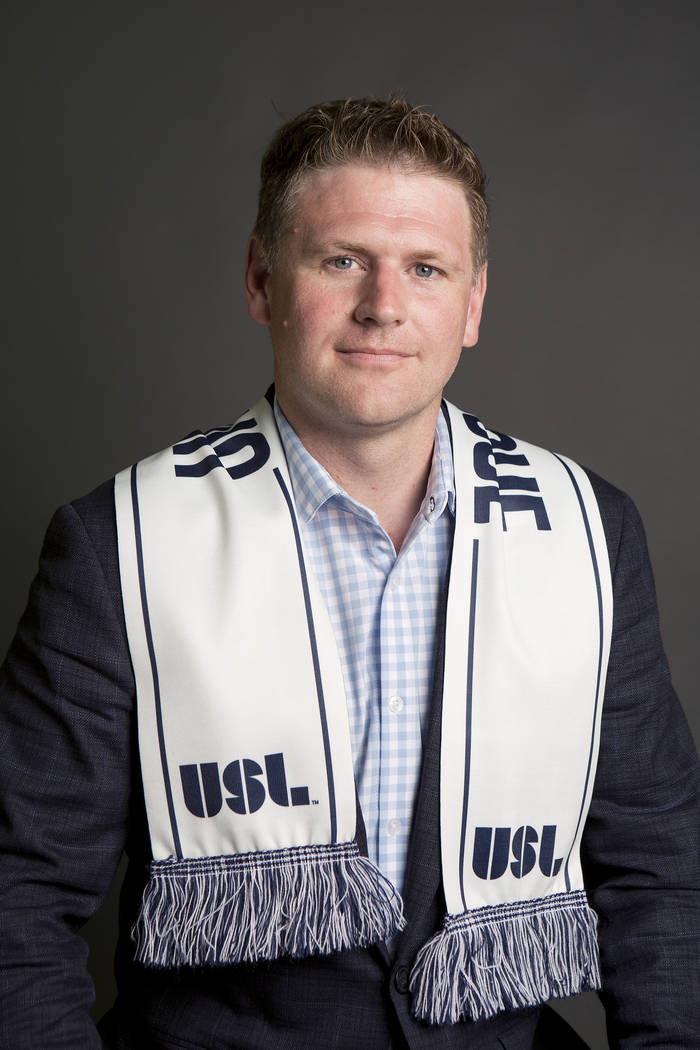 Las Vegas Soccer LLC founder Brett Lashbrook, pictured at the Las Vegas Review-Journal on Monday, July 17, 2017. Lashbrook is strongly pushing for Las Vegas United Soccer League team. Bridget Benn ...