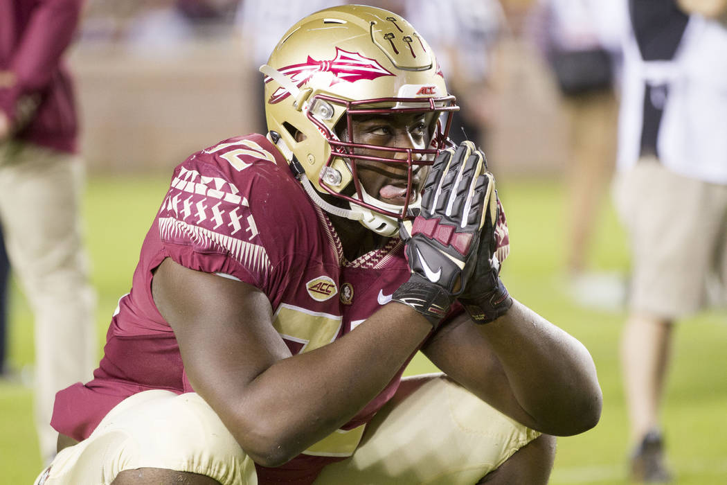TALLAHASSEE, FL - NOVEMBER 11: Florida State OL Kareem Are (72) warms up during the NCAA football game between the Florida State Seminoles and the Boston College Eagles on November 11, 2016, at Bo ...