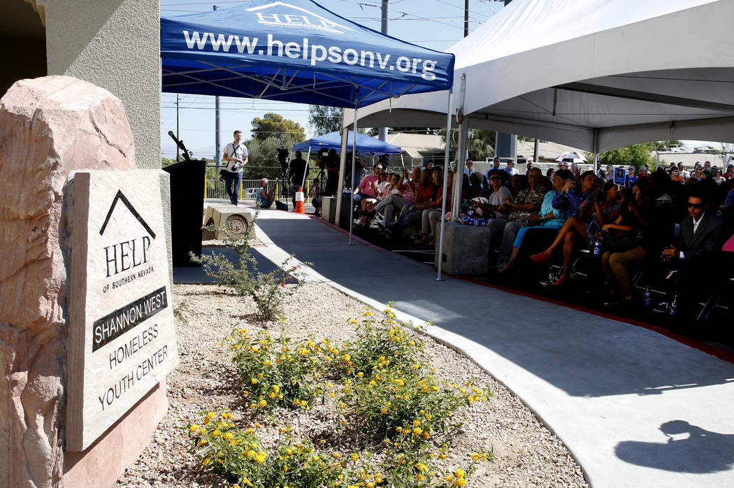 People attend the grand opening of the new Shannon West Homeless Youth Center on 1650 E. Flamingo Road, on Friday, July 14, 2017, in Las Vegas. (Bizuayehu Tesfaye/Las Vegas Review-Journal) @bizute ...