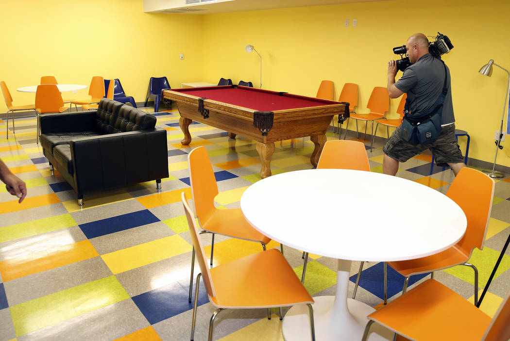 The multipurpose room at the new Shannon West Homeless Youth Center during the grand opening ceremony of the center on 1650 E. Flamingo Road, on Friday, July 14, 2017, in Las Vegas. (Bizuayehu Tes ...