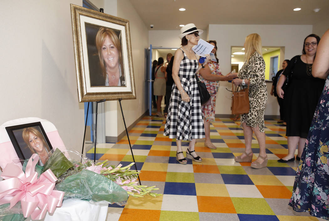 Photographs of Shannon West are placed at the lobby of the new Shannon West Homeless Youth Center during the grand opening ceremony of the center on 1650 E. Flamingo Road, on Friday, July 14, 2017 ...