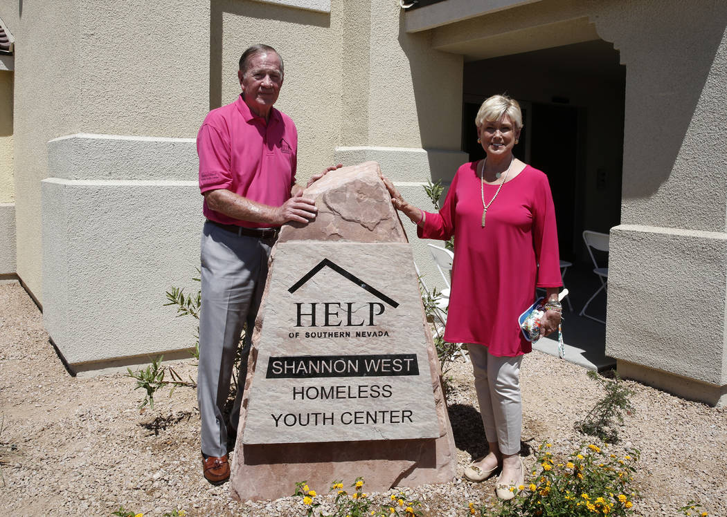 Tom West and his wife Susan, parents of Shannon West, outside the new Shannon West Homeless Youth Center on 1650 E. Flamingo Road, after the grand opening ceremony of the center on Friday, July 14 ...