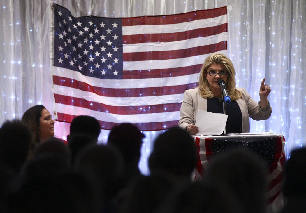 Las Vegas City Councilwoman Michele Fiore speaks at a fundraising event in support of the Bundy family at Rainbow Gardens in Las Vegas on Saturday, July 15, 2017. Chase Stevens Las Vegas Review-Jo ...