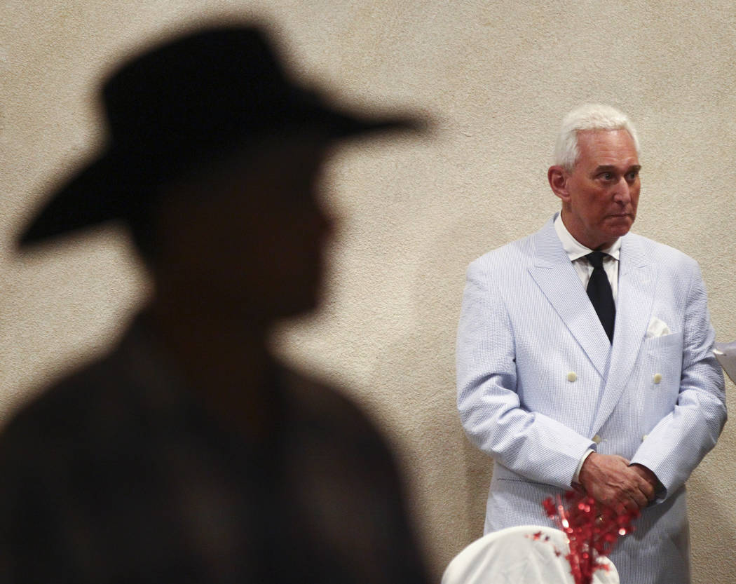 Political consultant Roger Stone, right, before speaking at a fundraising event in support of the Bundy family at Rainbow Gardens in Las Vegas on Saturday, July 15, 2017. Chase Stevens Las Vegas R ...