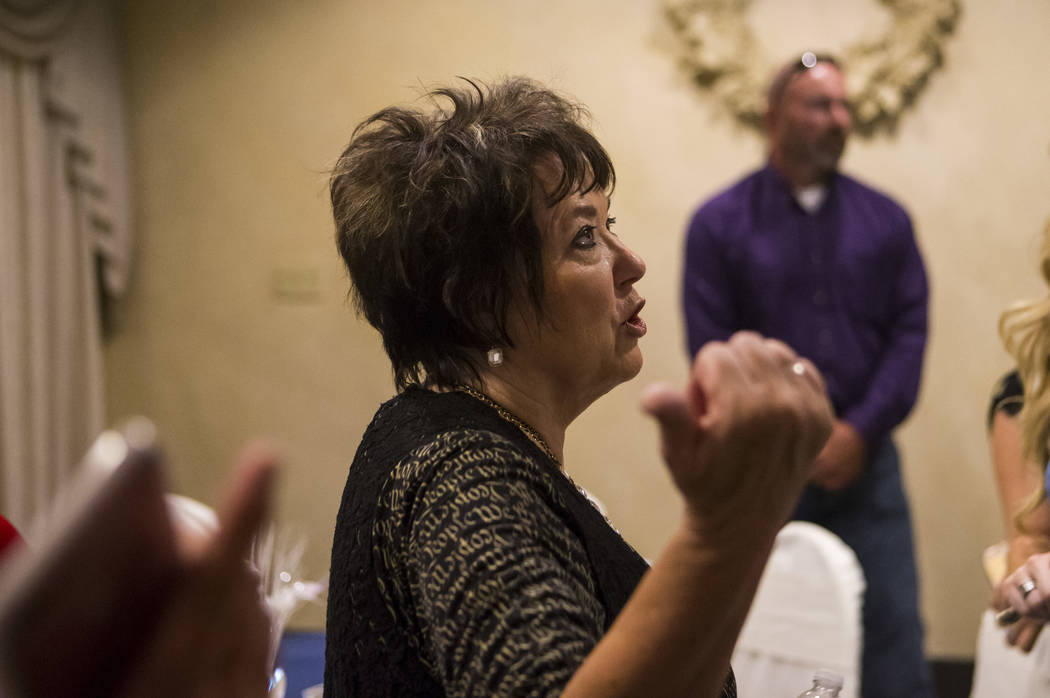 Carol Bundy, wife of Cliven Bundy, talks with people at a fundraising event in support of the Bundy family at Rainbow Gardens in Las Vegas on Saturday, July 15, 2017. Chase Stevens Las Vegas Revie ...