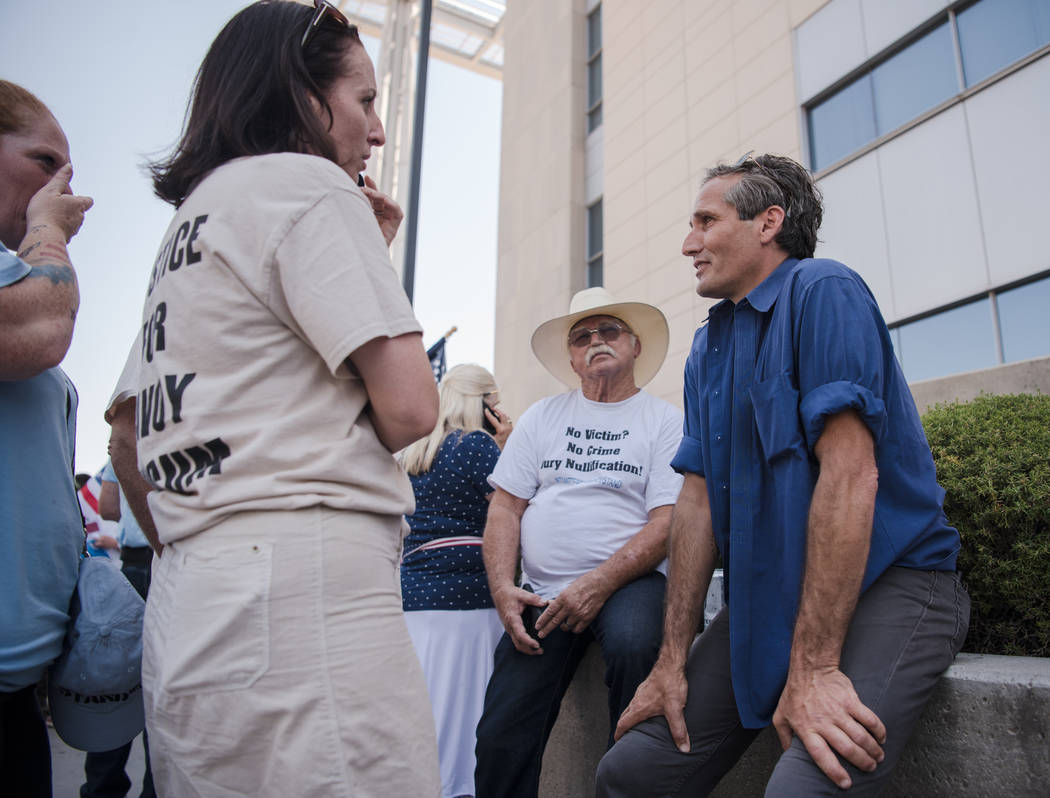 Journalist Charlie LeDuff meets with protestors at a rally to support defendants in the Bundy standoff case at the Lloyd George U.S. Courthouse on Saturday, July 15, 2017, in Las Vegas. Morgan Lie ...