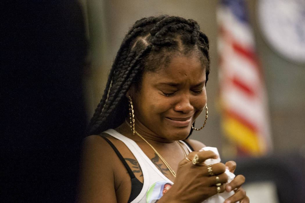 Viola Pleasant, aunt and best friend of Roland Pleasant, has an emotional moment after speaking at the sentencing for Eric Javon Bell at the Regional Justice Center in Las Vegas on Monday, July 17 ...