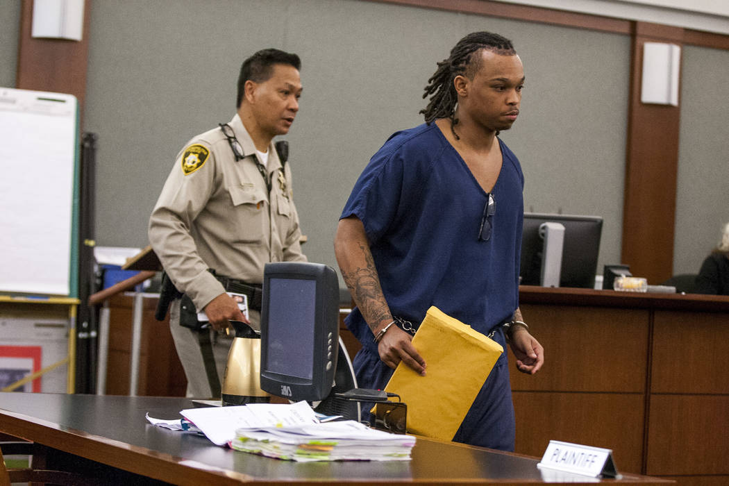 Eric Javon Bell, who pleaded guilty to killing 18-year-old Roland Pleasant, enters the courtroom sentencing at the Regional Justice Center in Las Vegas on Monday, July 17, 2017. Bell pleaded guilt ...